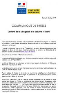 La nouvelle réglementation officielle en matière de sécurité routière dès juillet 2017